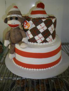 #126 2 tier sock monkey cake at delriocakes.biz