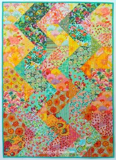 tequila sunrise quilt, Cascade quilt pattern by SpringLeaf Studios – Famous Last Words Tequila Sunrise, Colorful Quilts, Small Quilts, Bright Quilts, Eclectic Quilts, Quilt Festival, Scrappy Quilts, Easy Quilts, Kid Quilts