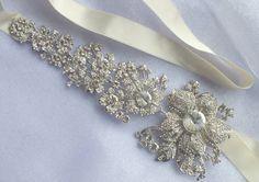Eden Garden - Vintage Style Swarovski  Rhinestone Bridal Satin Head Band Tiara Sash