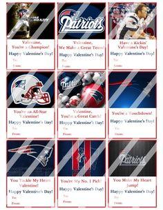 New England Patriots Printable Digital Valentines Day Cards #5