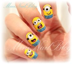 Incredibly detailed minion nails inspired by Despicable Me.