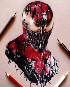 Drawing Marvel Comics Perfect fan art drawing of Carnage from Spiderman movie done by artist Borja Burgueño Moreno from Madrid, Spain Comic Books Art, Comic Art, Art Sketches, Art Drawings, Venom Comics, Venom Art, Marvel Tattoos, Art Manga, Marvel Drawings