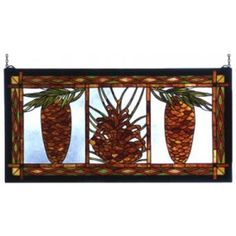 Stained Glass Window  Love Pinecones...evergreen trees, chickadees, cardinals