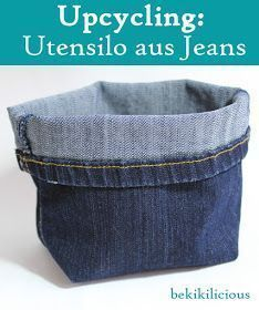 bekikilicious: Upcycling: How to make a cool jeans utensil out of an old jeans - Diy and Crafts to Upcycled Crafts Diy Jeans, Jean Diy, Upcycled Crafts, Clothes Crafts, Sewing Projects For Beginners, Sewing Hacks, Sewing Tips, Diy For Kids, Fabric Crafts