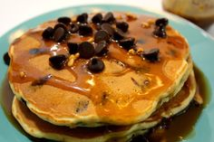 Peanut Butter Chocolate Chip Pancakes || Made these for my husband's birthday!  HUGE success!