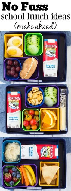 Fast and healthy school lunch ideas and tips! These make ahead lunch ideas save you time and effort! | www.kristineskitc... #MoreHonestFood #ad