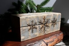 Tealight Holder with Snowflake Designs on Reclaimed Wood