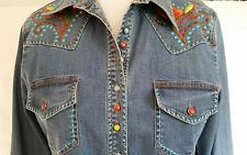 WESTERN Style COWGIRL Embroidered Denim Shirt Top by Vintage Collection SIZE XL