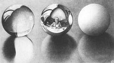 Maurits Cornelius Escher, Three Balls, 1946 Lithograph Gift of the artist Haifa Museums Mc Escher, Escher Kunst, Escher Art, Image Categories, Dutch Artists, Vanitas, Gravure, Optical Illusions, Art History