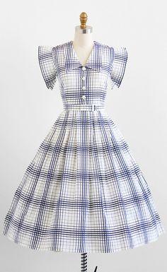 Lovely 1940s blue + white cotton piqué day dress. #vintage #1940s #dresses #fashion #summer
