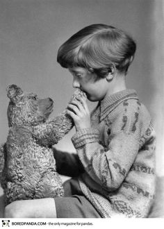 photo taken in 1927 of the Real Winnie the Pooh and Christopher Robin.