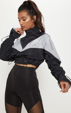 Black Contrast Stitched Wind BreakerAdd some vibes to your workout wardrobe with this wind br. Sporty Outfits, Cute Outfits, Fashion Outfits, Hiking Outfits, Sporty Fashion, Athleisure Fashion, Womens Fashion, Windbreaker Outfit, Black Windbreaker