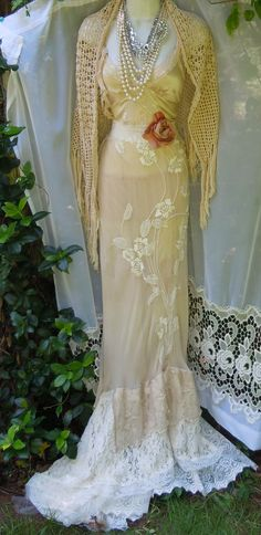 Cream flapper dress silk beading lace rose boho vintage  romantic small by vintage opulence on Etsy on Etsy, $250.00