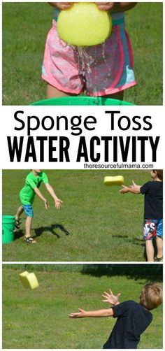 Summer activities for kids with water.This sponge toss water activity is a great way for kids or adults to cool off this summer. It's super easy and inexpensive to put together and works great for group or family activities. Summer Camp Activities, Summer Games, Summer Kids, Summer Daycare, Kids Camp Games, Preschool Water Activities, Water Sports Activities, Snow Activities, Kids Fun