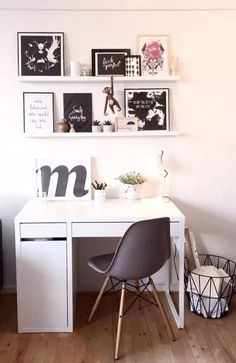 home office ideas; small home office; Office Space Decor, Study Room Decor, Home Office Design, Shelves In Bedroom, Bedroom Desk, Room Ideas Bedroom, Guest Bedroom Office, Desk Styling, Desk Inspiration