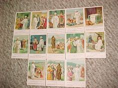 "1905 Antique ""The Little Ones"" Bible Pictures Sunday School 13 Lesson Cards"