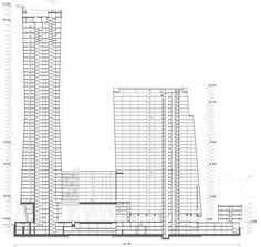 Небоскреб на Мосфильмовской улице : Sergey Skuratov Architects Modern Architecture, Skyscraper, Floor Plans, How To Plan, Building, Towers, Drawing, Design, Skyscrapers