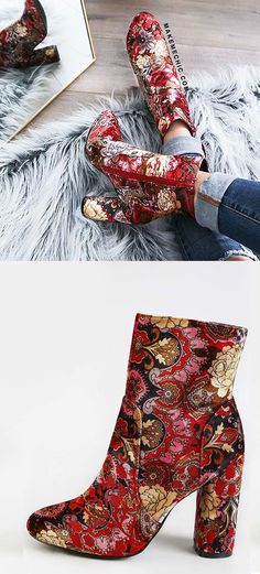 Vintage Inspired Patterned Ankle Booties