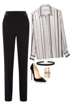Cat Grant Inspired Outfit by daniellakresovic on Polyvore featuring polyvore fashion style Sandro Christian Louboutin Humble Chic Yves Saint Laurent clothing