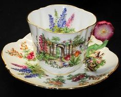 AYNSLEY PINK FLOWER HANDLE GARDEN GATE WHITE TEA CUP AND SAUCER