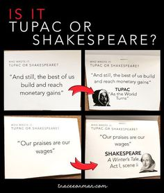 Fun Poetry Bulletin Board Ideas Shakespeare or Tupac? Interactive Bulletin Boards, Library Bulletin Boards, English Bulletin Boards, Bulletin Board Ideas Middle School, Middle School Ela, Middle School English, Middle School Libraries, 8th Grade Ela, Ninth Grade