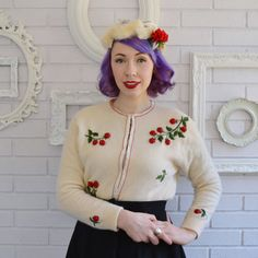 Vintage 1950s Cherry Embroidered Cardigan by by RabbitHeartDesigns, $64.00
