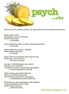 Psych exercise game for abs. Work out while you watch TV!