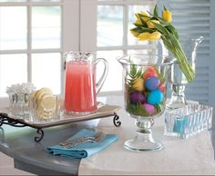 Use the Nautilus Square Vases not just for Flowers but for Candles and Food for your party! Add Colored eggs and fern leaves to any Hurricane. #Decor #Easter  Shop this look at karenallison.store.willowhouse.com