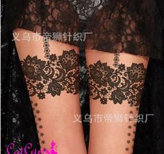 Lace Tattoos for Women | HOT!romantic women black sexy tight lace flower like tattoo Thin silk ...