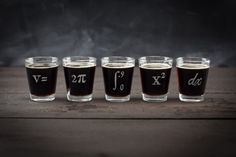 Calculus Shot Glass 5 pack Perfect nerdy math by CognitiveSurplus