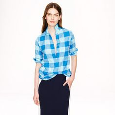 #JCrew POPOVER IN BLUE BUFFALO CHECK
