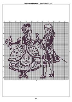 Gallery.ru / Фото #155 - Дамы и кавалеры (схемы) - Olgakam Cross Stitch Designs, Cross Stitch Patterns, Crochet Patterns, Filet Crochet Charts, Knitting Charts, Crochet Flowers, Crochet Lace, Blackwork, Cross Stitch Boards