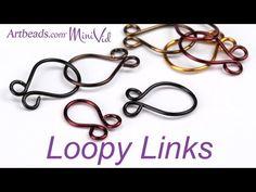 Artbeads MiniVid - Loopy Links Wire Tutorials, Jewelry Making Tutorials, Beading Tutorials, Jewelry Making Supplies, Beading Ideas, Wire Wrapped Jewelry, Wire Jewelry, Jewelry Findings, Bling Jewelry