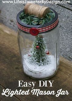 This EASY DIY Lighted Mason Jar tutorial will show you how fun and easy a craft project can be!  These make great gifts for Christmas or throughout winter!  So fun to customize to your personal likes!