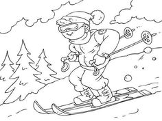 Whoosh! Skiing is lots of fun. You can color online or print this page and many others at http://www.coloringpages4u.com
