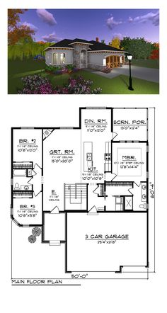 Italian House Plan 75234 | Total Living Area: 1626 sq. ft., 3 bedrooms, 1 full bathroom and one 3/4 bath. #italianhome