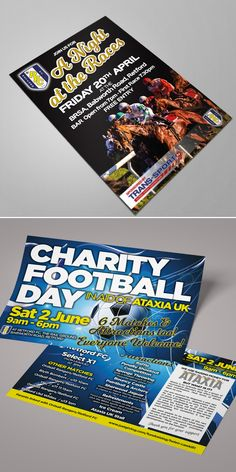 Design and print of event flyers for a local football club. Leaflet Design, Event Flyers, Flyer Design, Charity, Football, Graphic Design, Club, Prints, Soccer