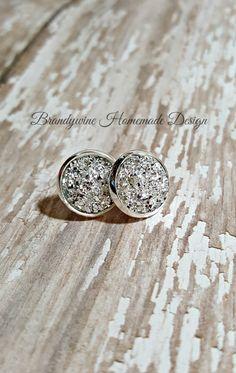 Druzy Earrings, 12 mm Druzy, Druzy Earrings, Shiny Silver Druzy Earrings, Natural Color Druzy Earrings, Affordable Jewelry by BrandywineHD on Etsy