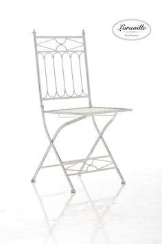 CLP Silla de jardín apilable ASINA, muebles en hierro forjado, estilo nostálgico, silla de camping, varios colores para elegir blanco antiguo
