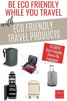 Choose eco friendly travel products with any one of these 10 best carry on luggage options for eco friendly travel to meet airline baggage allowance. Make great #TravelGiftIdeas! By @corrtravel #CORRTravel #TravelGifts #EcoFriendlyGifts Eco Friendly Travel Products | Sustainable Travel Products | Travel Products | Eco Friendly Travel Tips | Sustainable Travel Tips | Travel Tips and Tricks | International Travel Tips Travel Items, Travel Products, Best Carry On Luggage, Solo Travel Tips, International Travel Tips, Travel Toiletries, Travel And Tourism, Travel Aesthetic, Baggage