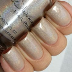We lovepale, near nude color polishes.This light beige polishhas a subtlelinear holographic effect.Three coats will cover most nail lengths and we love wearing 1 coat for a unique barely there holo look. This polish would be ideal for workplaces that don't allow bright colors.  Click here to see video of this polish  Type:Linear Holographic Glitter Load:Medium Glitter Size:Micro Recommended Coats:3 Notes: For a near nude look, use one thin coat for a sheer holographic nail.