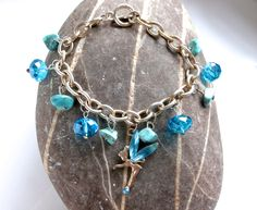 Fairy Charm Bracelet - Upcycled - Blue Crystals & Howlite by ReTainReUse on Etsy