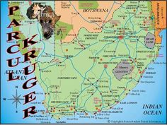 Kruger National Park is one of the largest game reserves in Africa. It covers 18,989 square kilometers (7,332 sq mi) and extends 350 kilometers (220 mi) from north to south and 60 kilometers (37 mi) from east to west.  To the west and south of the Kruger National Park are the two South African provinces of Limpopo and Mpumalanga.