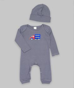 Look at this Ruff Truff Gray & Blue Truck Playsuit & Beanie - Infant on #zulily today!