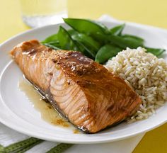 This baked salmon recipe is glazed with a brown sugar and Dijon-style mustard mi. - This baked salmon recipe is glazed with a brown sugar and Dijon-style mustard mixture. Baked Salmon Recipes, Fish Recipes, Baby Food Recipes, Seafood Recipes, Great Recipes, Cooking Recipes, Favorite Recipes, Healthy Recipes, Family Recipes