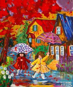Whimsical naive expressionist art by Katerina Mertikas I love our painting (different from this one) entitled Looking for a Rainbow (haven't been able to pin it though) Art And Illustration, Illustrations, Umbrella Art, Happy Art, Naive Art, Whimsical Art, Cute Art, Painting & Drawing, Folk Art