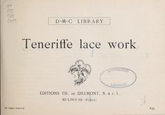 Teneriffe lace work....entire book to view in English.I would love to learn lace work. It's almost a lost art!