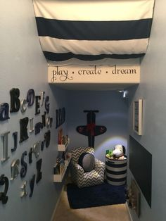 Luca's under the stairs playroom More
