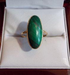 Vintage 14K British Hallmarked 583 Green Malachite Long Oval Cab sz 7.5 Ring | eBay