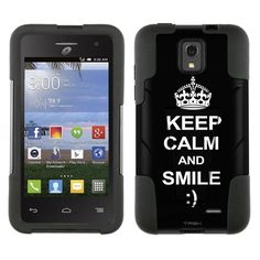 Alcatel OneTouch Pop Star Hybrid Stand Case KEEP CALM and Smile on Black